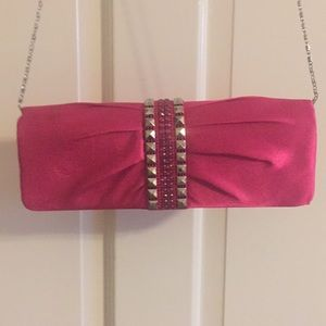 Satin pink evening purse